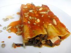 Cannelloni mit Mangold-Tofu-Füllung und Tomatensauce auf babyspeck.at