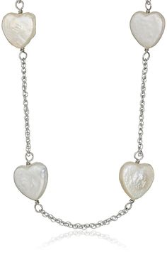 Bella Pearl Tin Cup Sterling Silver and Chinese Freshwater Cultured Pearl Heart Necklace * Read more at the image link.