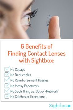 Got your eye on a pair of new contact lenses? Look no further. Sightbox is the only hassle-free, affordable service that will setup your doctor's appointment, cover all upfront billing, manage your prescription and deliver new lenses straight to your door. No insurance needed. All you need to do is show up for your exam!