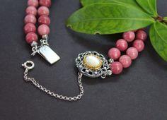 Trachtenschmuck Armband Anna aus Thulit und Perlmutt gefasst Elegant, Pendant Necklace, Jewelry, Pink, Rhinestones, Dirndl, Necklaces, Silver, Armband
