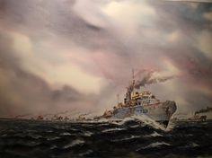 Round Up - {HMCS Calgary North Atlantic convoys WWII} by Calgary artist Peter Thompson ~ maritime art