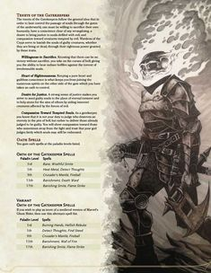 Tagged with dnd, paladin, dndhomebrew, dnd subclass; [v Oath of the Gatekeeper Dungeons And Dragons Classes, Dungeons And Dragons Homebrew, Dnd Characters, Fantasy Characters, Dnd Paladin, Warlock 5e, Dnd Stories, Horror Stories, Dnd Dragons