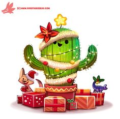 Daily Paint Christmas Cactus by Cryptid-Creations Time-lapse, high-res and WIP sketches of my art available on Patreon (: Cute Animal Drawings, Kawaii Drawings, Cute Drawings, Cartoon Drawings, Christmas Cactus, Christmas Animals, Christmas Art, Xmas, Illustration Noel