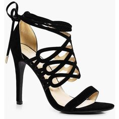 Boohoo Lucy Cage Wrap Ankle Heel ($50) ❤ liked on Polyvore featuring shoes, sandals, wrap sandals, high heel sandals, jelly sandals, summer sandals and flatform sandals