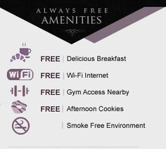 Don't pay extra for amenities you deserve! Come be our guest at The Majestic Hotel and have tons of amenities at your finger tips