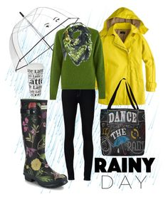 """rainy day floral"" by kc-spangler ❤ liked on Polyvore featuring Kate Spade, Hunter, Ström, J.Crew, YMC, Könitz, Kris Jane, rain, rainboots and Wellies"