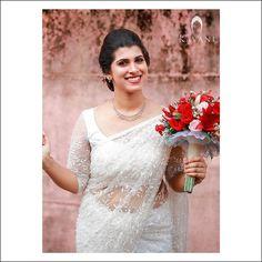 Christian Wedding Sarees, Christian Bride, Saree Wedding, Wedding Gowns, Saree Collection, Bridal Collection, Bridal Sarees South Indian, Stylish Sarees, White Bridal