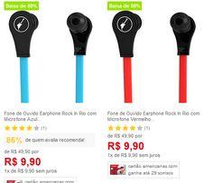 Fone de Ouvido Earphone Rock In Rio com Microfone Aquarius - Duas Cores Disponíveis << R$ 990 >>