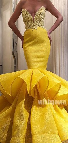 Arabic Yellow Full Lace Sweetheart Mermaid Prom Dresses Sexy Lace Appliqued Sheath Evening Gown Open Back Formal Party Dress Best Formal Dresses, Elegant Dresses, Pretty Dresses, Sexy Dresses, Beautiful Dresses, Yellow Evening Dresses, Mermaid Evening Dresses, Evening Gowns, Prom Gowns