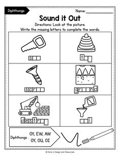 This set of diphthong printable worksheets, activities and games includes some fun reading, writing, tracing, coloring, teaching and finding diphthongs. Perfect English phonics activity for morning work, literacy tubs, homework and more.Teaching vowels to your 2nd grade students has never been easier. #diphthongsactivities #diphthongsworksheeets #diphthongteaching 2nd Grade Activities, Teaching Activities, Teaching Tips, Classroom Activities, Classroom Ideas, Phonics Worksheets, Printable Worksheets, Cvc Words, Sight Words