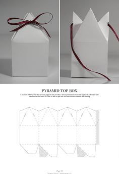 Gift Box Pyramid Top Box - Packaging & Dielines: The Designer& Book of Packaging Die. Packaging Dielines, Gift Packaging, Packaging Design, Product Packaging, Box Packaging Templates, Paper Packaging, Retail Packaging, Diy Gift Box, Diy Box