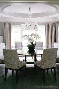 Stunning Dining room furniture features fabric from Loro Piana & William Yeoward.