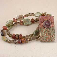 SOLD-Beaded Necklace with Polymer Clay Pendant in by ArtfulHandJewelry, $95.00