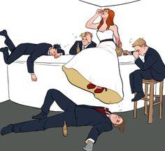drunken Bucky x Natasha wedding fanart by kelslk