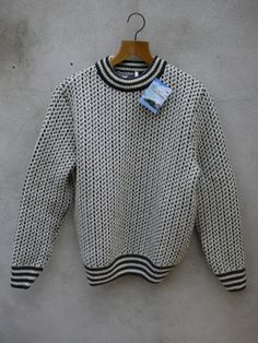 Norwegian Houndstooth Jumper in Cream and Charcoal Jumper, Men Sweater, Houndstooth, My Wardrobe, Off White, Knitwear, Charcoal, Pullover, Xmas Gifts