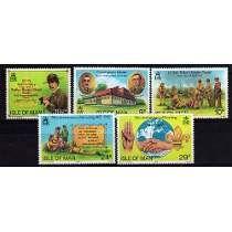 5 Estampillas De Isla De Man Tema Scouts Año 1982