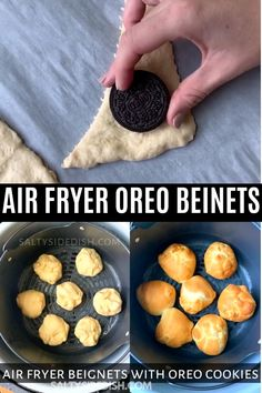 Ninja Foodi Air Fryer Beignets Stuffed with Oreo's or Reese's Peanut Butter Cups is a delicious fair style fried Oreo with powdered sugar, done in 8 minutes Air Fryer Recipes Videos, Air Fryer Oven Recipes, Air Frier Recipes, Deep Fryer Recipes, Mini Desserts, Cheesecake Desserts, Raspberry Cheesecake, Air Fryer Recipes Dessert, Air Fried Food