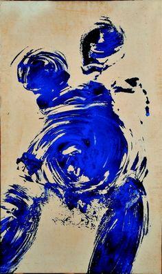 (Yves Klein, Anthropométrie)      S ul tuo profilo  ho scorto una lacrima  che piano bruciava  ed estirpava  lunghi anni d'assen...