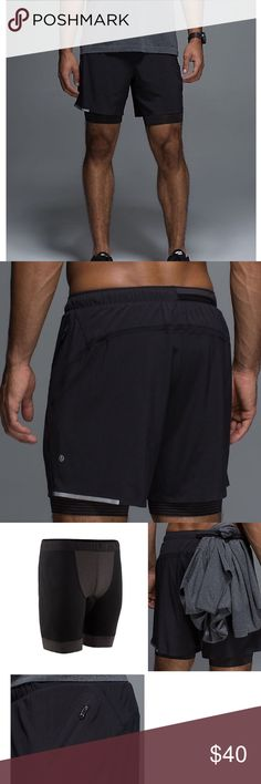 "NWOT Lululemon Surge shorts 7"" men's sz M ⭐️PRICE FIRM⭐️ Surge shorts, tags removed but never worn. Black camo pattern, 7"" shorts, luxtreme boxer brief liner. Zippered side pocket, small key pocket in liner, elastic band in rear of waistband to hold your shirt when you get warm and want to go shirtless. Reflective detail on the bottom edge of the lightweight shorts. Great shorts for running, biking, yoga etc. ♦️♦️price is firm on this item as they're already priced at 50% off retail♦️♦️…"