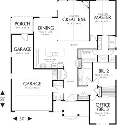 Craftsman Style House Plan - 3 Beds 2 Baths 1800 Sq/Ft Plan #48-414 Floor Plan - Main Floor Plan - Houseplans.com