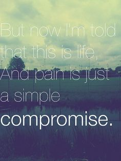 but now i'm told that this is life and pain is just a simple compromise. - paramore, misguided ghosts