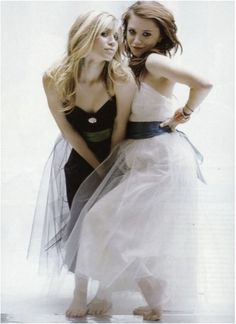 Cute photoshoot with Mary-Kate and Ashley Olsen in black and white gowns. #olsentwins