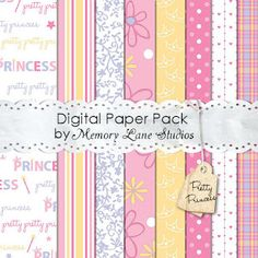Free Pretty Princess paper pack by Memory Lane Studios Free Scrapbook Paper, Papel Scrapbook, Free Digital Scrapbooking, Digital Paper Free, Free Paper, Digital Papers, Vintage Clip Art, Decoupage Paper, Paper Tags