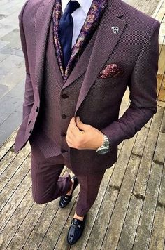 Bird's eye purple suit. MY god. What an awesome look and that's why this is my first post of Have an awesome year! And if you want to get more posts like this. Burgundy Suit, Purple Suits, Best Suits For Men, Cool Suits, Wedding Suits For Men, Suit Up, Suit And Tie, Suit Vest, Mens Fashion Suits