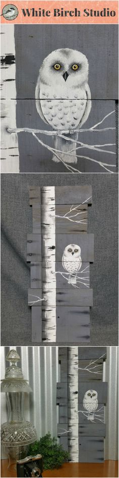 """Snowy White owl, Owl decor, White Birch, owl painting, reclaimed pallet art, Hand painted White Birch, upcycled, Wall art, Distressed  Original Acrylic painting on reclaimed Pallet boards. This unique piece is 23-24"""" tall x 11"""" wide  This piece is perfect for a personalized rustic touch to your winter decorating. It also would be adorable in a nursery."""