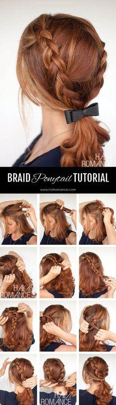 Hair Romance - Braid ponytail tutorial / http://www.himisspuff.com/easy-diy-braided-hairstyles-tutorials/83/