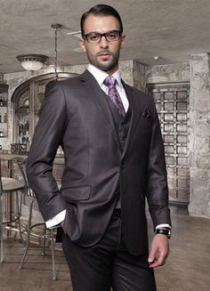 SKU#ED3 2 Button Heather Charcoal Suit with a Vest Super 150s Italian Wool Pick Stitched Lapel Slanted Pocket $239