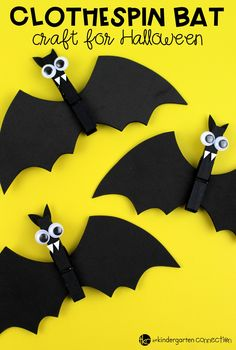 This clothespin bat craft is a great Halloween craft for kids, and by adding a magnet to the back, you can turn it into a fun gift to take home, too! Halloween with Kids Scary Halloween Crafts, Halloween School Treats, Halloween Crafts For Toddlers, Theme Halloween, Halloween Crafts For Kids, Halloween Activities, Halloween Projects, Cute Halloween, Toddler Crafts