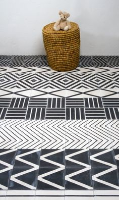 Cement tile in tribal patterns.