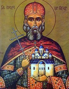 The holy, glorious and right-victorious Great Martyr Lazar, Prince of Serbia (Свети Великомученик кнез Лазар, also Lazarus, or Lazar of Ko. Defender Of The Faith, Belgrade Serbia, Byzantine Icons, Church Architecture, Religious Icons, Orthodox Icons, Serbian, Sacred Art, Ancient History
