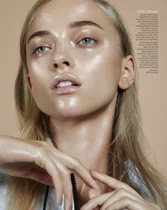 Healthy glow radiating a vinyl-shine makeup look // Beauty Inspiration from Stylist Magazine // Photo by Jamie Nelson