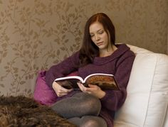 Nattfiol / Night Flower: knitting pattern available in English and Norwegian. Such a cozy sweater for curling up on the couch with a good book.