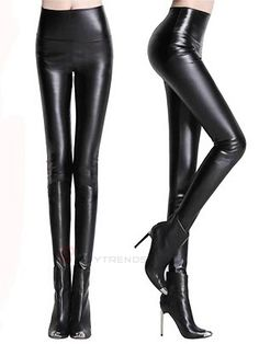 Appealing Women Pure Color High Waist Skinny Casual Leggings - BuyTrends.com
