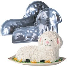 Easter lamb cake how to. Note to self: seriously only use the pound cake. Straight up boxed cake mix = lamb cake crumble :( Wilton Cake Decorating, Cake Decorating Tools, Decorating Supplies, Cake Baking Supplies, Vanilla Buttercream Icing, Sheep Cake, Lamb Cake, Wilton Cake Pans