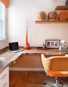 Orange and White Home Office I like the wood desktop. Reclaimed Desktop - Contemporary Orange and White Home Office on HGTVI like the wood desktop. Reclaimed Desktop - Contemporary Orange and White Home Office on HGTV Mesa Home Office, Home Office Space, Home Office Desks, Home Office Furniture, Office Decor, Office Ideas, Office Designs, Small Office, Furniture Ideas
