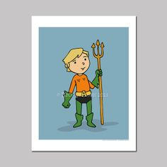Super Cute Aquaman Cartoon Art Print by @Beck Seashols on Etsy, $5.00