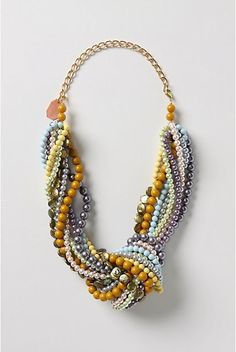 Knotted Mardi Gras beads craft.