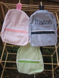 Large Personalized Seersucker Backpack by thegroovymommy on Etsy, $27.00
