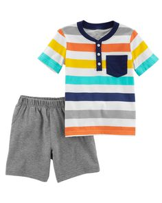 Toddler Boy 2-Piece Jersey Top & French Terry Short Set | Carters.com