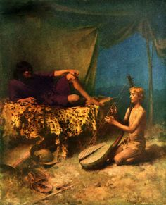 William Ladd Taylor – - David playing lyre for King Saul Saints And Sinners, King David, Classical Art, Sacred Art, Ancient Civilizations, 19th Century, American, Gallery, Painting