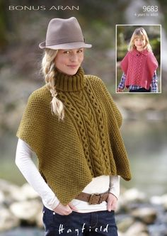 Cabled poncho knitting pattern - download FREE from LoveKnitting! (I can't figure out how to do this free download - link says pattern is missing.)