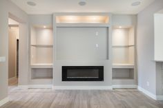 Touchstone 80011 Sideline 60 Recessed Electric Fireplace 60 Wide, Heat, Black – Touchstone Home Products, Inc. Feature Wall Living Room, Living Room Built Ins, Living Room Wall Units, Home Living Room, Living Room Designs, Shelving In Living Room, Tv Wall Shelves, Tv Feature Wall, Fireplace Tv Wall