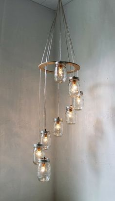 Spiral Mason Jar Chandelier, Rustic Hanging Pendant Lighting Fixture, 8 Clear Jars, Modern BootsNGus Lighting & Home Decor, Bulbs Included - All For Decoration