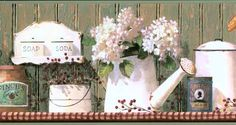 Wallpaper border has blue and white tea cups, caraffes, and bread boxes with red berries on a brown wooden shelf with blue trim. Art Vintage, Vintage Shabby Chic, Wood Wallpaper, Wallpaper Borders, White Tea Cups, Decoupage Printables, Borders For Paper, Country Paintings, Red Berries