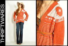 Vintage 70s Orange SOUTHWESTERN NAVAJO Bell Sleeve BOHO Hippie JUMPER Sweater XS/S