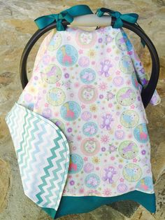 Teddy bear teal chevron pastel baby car seat canopy by BBsBanners